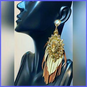 🏷 🆕 Noir Champagne & Brown Gemstone Earrings